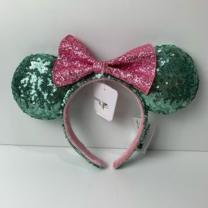Minnie Mouse Ears  Teal Pink Sequin Headband